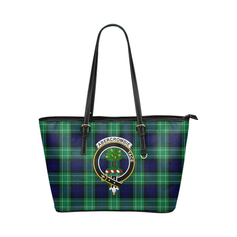 Abercrombie Clan Badge Tartan Leather Tote Bag