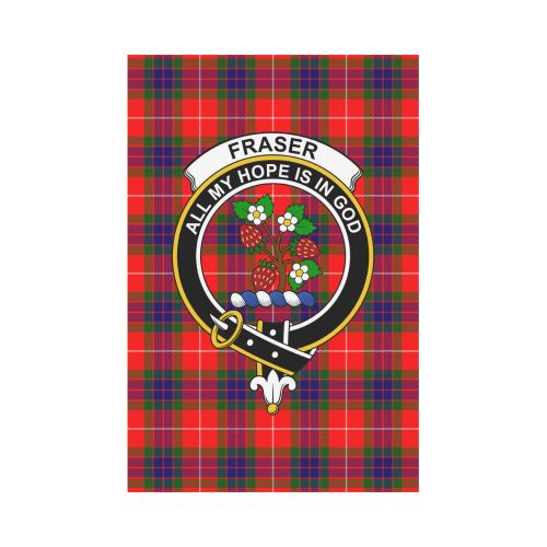 Fraser Clan Badge Tartan Garden Flag