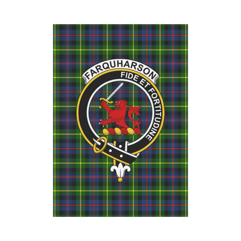 Image of Farquharson Clan Badge Tartan Garden Flag