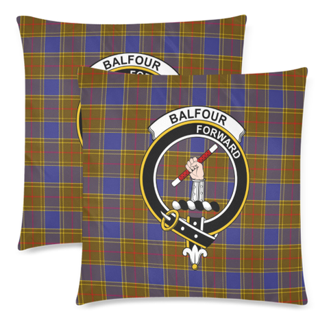 Image of Balfour Clan Badge Tartan Pillow Cover