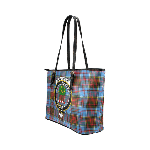 Anderson Clan Badge Tartan Leather Tote Bag