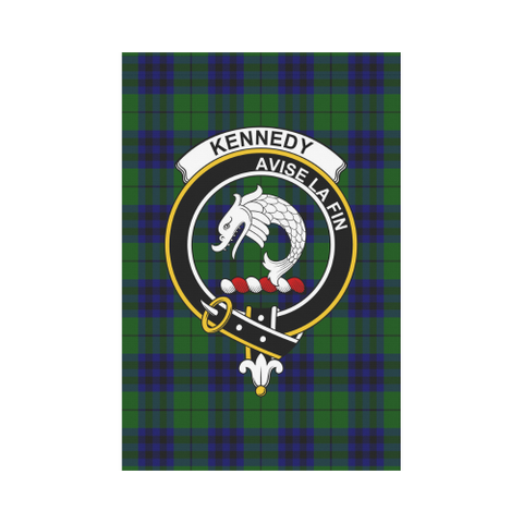 Image of Kennedy Clan Badge Tartan Garden Flag