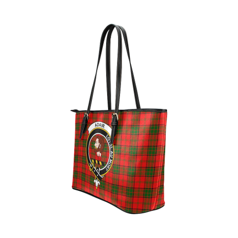 Adair Clan Badge Tartan Leather Tote Bag