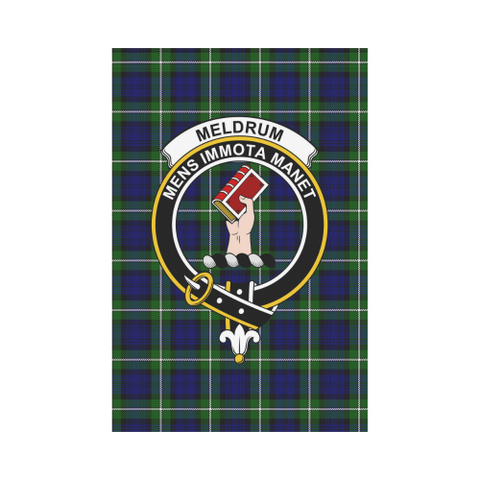 Image of Meldrum Forbes Clan Badge Tartan Garden Flag