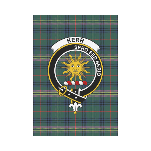 Kerr Clan Badge Tartan Garden Flag