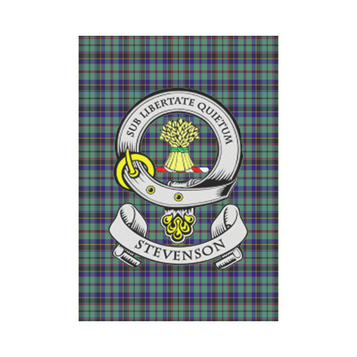 Stevenson Clan Badge Tartan Garden Flag