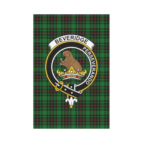Beveridge Clan Badge Tartan Garden Flag