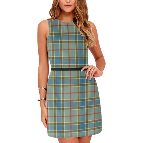 Image of Balfour Blue Tartan Sleeveless Dress H01