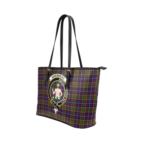 Image of Aikenhead Clan Badge Tartan Leather Tote Bag