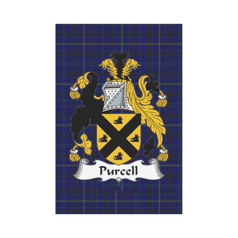 Image of Purcell Clan Badge Tartan Garden Flag