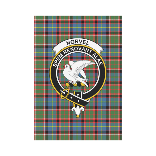 Norvel (Stirling) Clan Badge Tartan Garden Flag