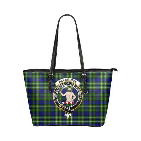 Allardice Clan Badge Tartan Leather Tote Bag