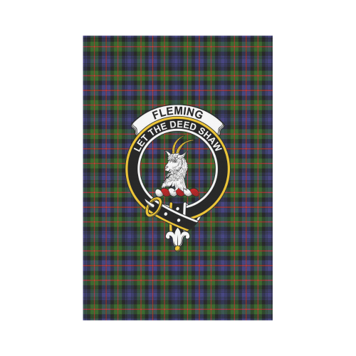 Fleming Clan Badge Tartan Garden Flag