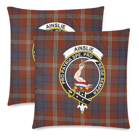 Image of Ainslie  Clan Badge Tartan Pillow Cover