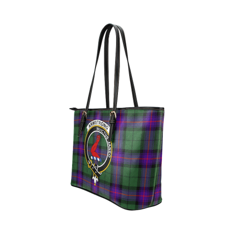 Armstrong Clan Badge Tartan Leather Tote Bag