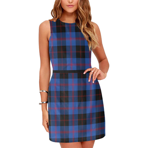 Image of Angus Modern Tartan Sleeveless Dress H01