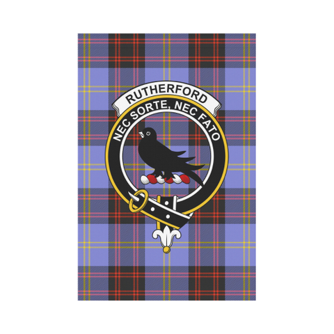 Image of Rutherford Clan Badge Tartan Garden Flag