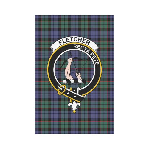 Fletcher Clan Badge Tartan Garden Flag