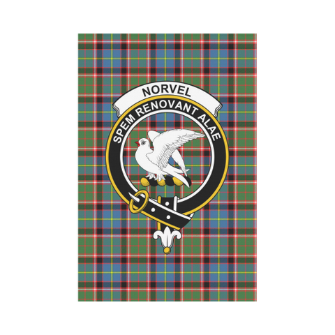 Image of Norvel (Stirling) Clan Badge Tartan Garden Flag