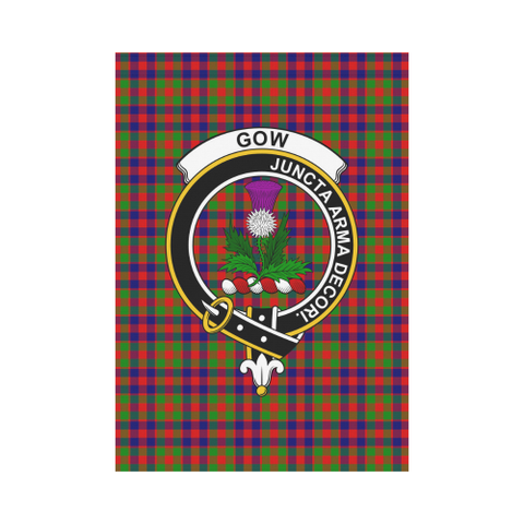 Image of Gow of Skeoch Clan Badge Tartan Garden Flag