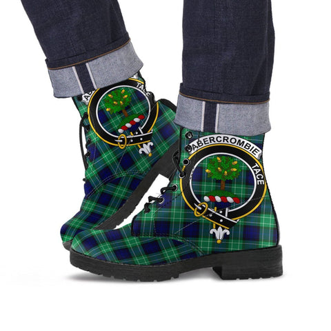 Image of Abercrombie Clan Badge Tartan Leather Boots