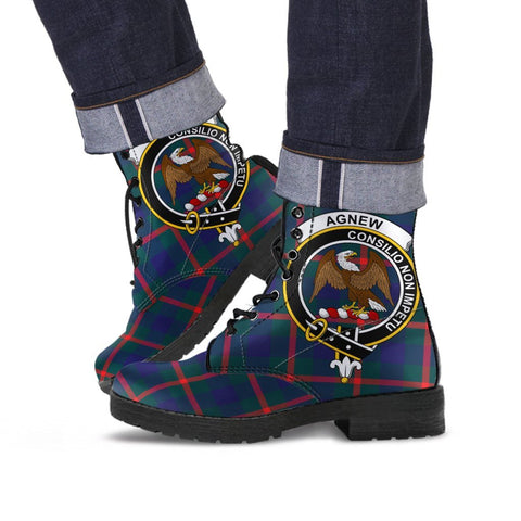 Image of Agnew Clan Badge Tartan Leather Boots