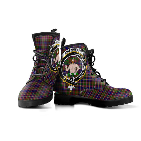 Image of Aikenhead Clan Badge Tartan Leather Boots