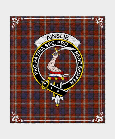 Ainslie Clan Badge Tartan Blanket
