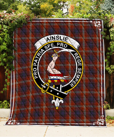 Image of Ainslie Clan Badge Tartan Blanket