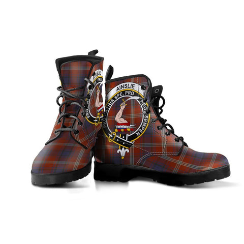 Image of Ainslie Clan Badge Tartan Leather Boots