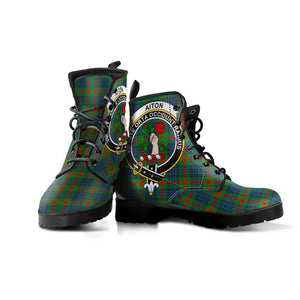 Aiton Clan Badge Tartan Leather Boots