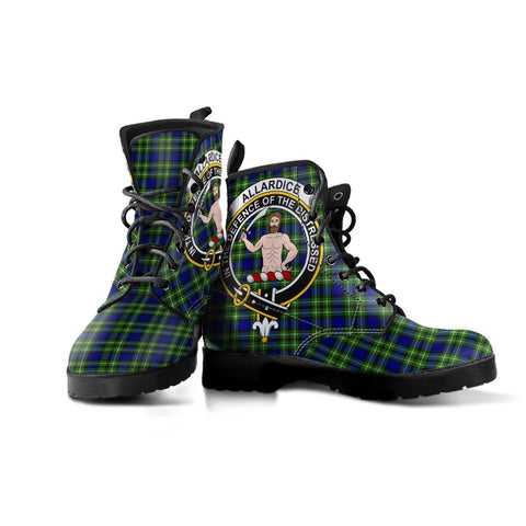 Image of Allardice Clan Badge Tartan Leather Boots