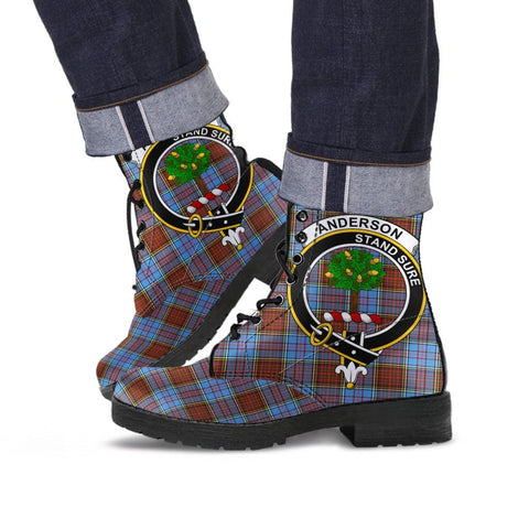 Image of Anderson Clan Badge Tartan Leather Boots