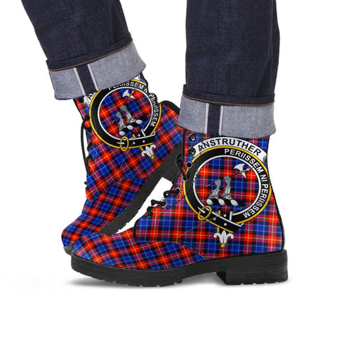 Image of Anstruther Clan Badge Tartan Leather Boots