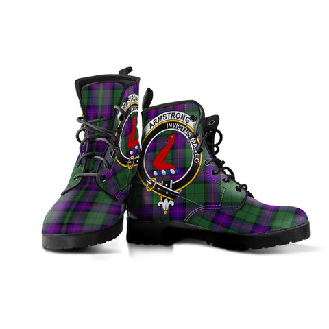 Armstrong Clan Badge Tartan Leather Boots