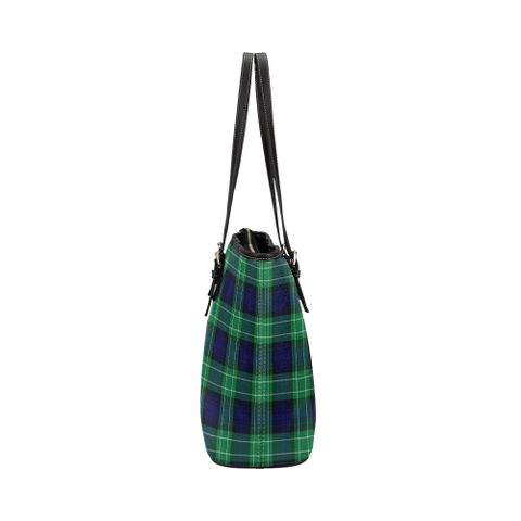 Image of Abercrombie Clan Badge Tartan Leather Tote Bag