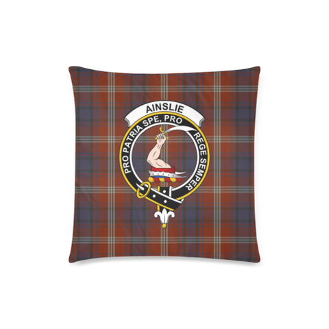 Ainslie  Clan Badge Tartan Pillow Cover