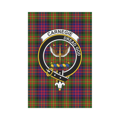 Image of Carnegie  Clan Badge Tartan Garden Flag