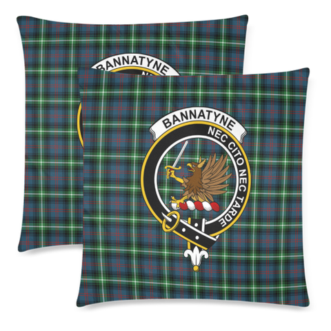 Bannatyn  Clan Badge Tartan Pillow Cover