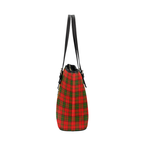 Image of Adair Clan Badge Tartan Leather Tote Bag