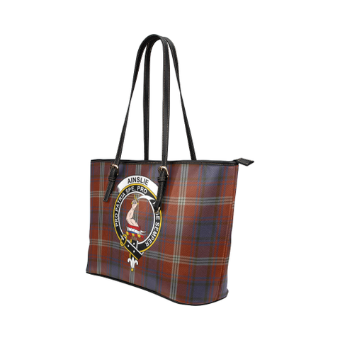 Ainslie Clan Badge Tartan Leather Tote Bag