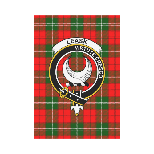 Leask Clan Badge Tartan Garden Flag