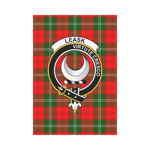 Image of Leask Clan Badge Tartan Garden Flag
