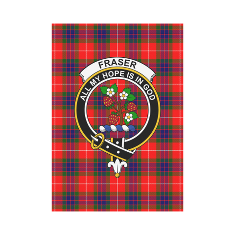 Image of Fraser Clan Badge Tartan Garden Flag