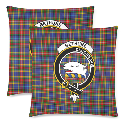 Bethune  Clan Badge Tartan Pillow Cover