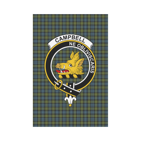 Image of Campbell Clan Badge Tartan Garden Flag