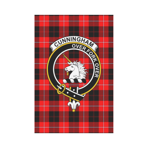 Image of Cunningham Clan Badge Tartan Garden Flag