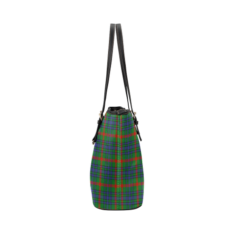 Aiton Clan Badge Tartan Leather Tote Bag