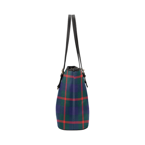 Agnew Clan Badge Tartan Leather Tote Bag