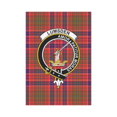 Image of Lumsden  Clan Badge Tartan Garden Flag